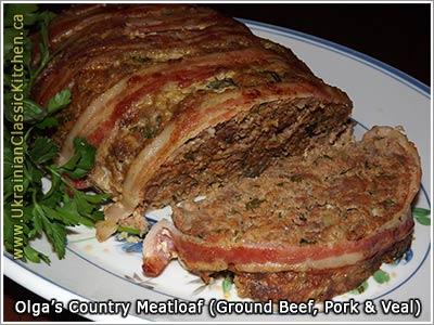 Country Meatloaf Ground Beef Pork Veal